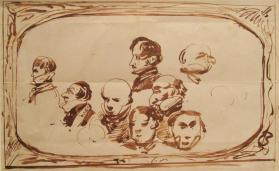 Sketch of Edgar Allen Poe and Seven Others (Head Studies of Eight Men)