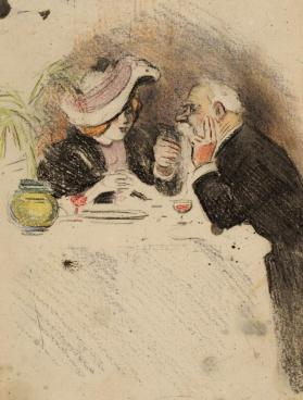 Cafe Scene: Young Woman and Old Man Dining