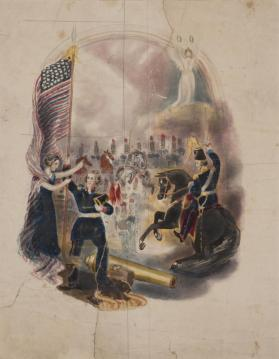 "Design for an Allegorical Composition:  ""America Urges Her Soldiers to Victory"