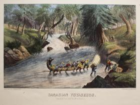 Canadian Voyagers:  Walking a Canoe Up the Rapids