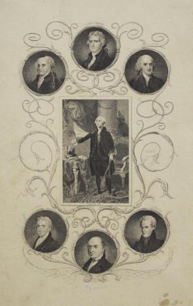 Portrait of George Washington Surrounded by Six Presidents