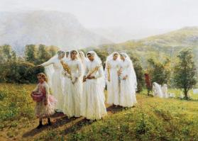 Young Women Going to a Procession