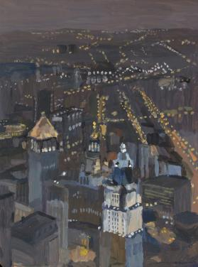 Nighttime View from the 91st Floor at Tower No. 1, World Trade Center, New York