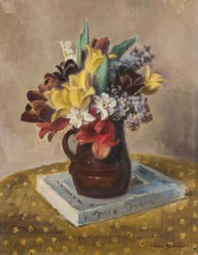 Tulips in a Brown Pitcher