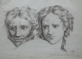 Study of Two Heads from an Unidentified Print