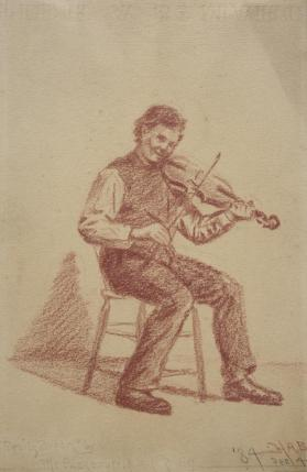 Seated Man Playing a Fiddle