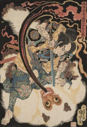 Usui Matagoro Slaying a Demonic White Monkey
