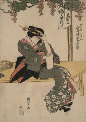 Portrait of an Iwai Family Actor Adjusting Hair Ornament