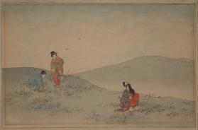 Three Women Gathering Mushrooms in a Landscape