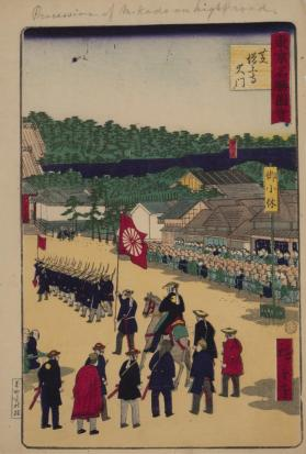 Procession of the Mikado on the High Road (from Famous Places in Tokyo)
