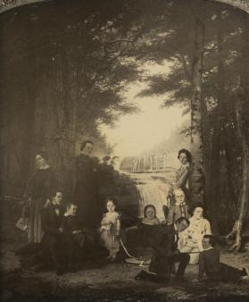 "Photograph of Thomas Hicks' Painting, ""Moore Children in Front of the Trenton Falls Hotel"""