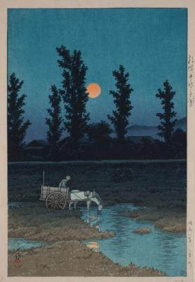 Horse-Drawn Cart and Full Moon