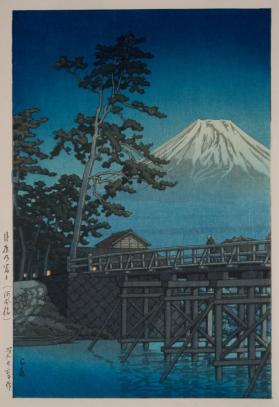 Fuji in the Night Moon at Kawai Bridge