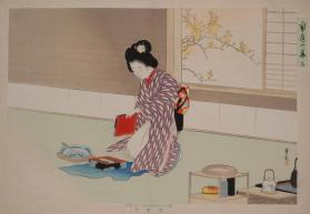 Woman Kneeling in Interior, Preparing to Perform the Tea Ceremony (from the series The Modern Woman)