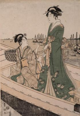 A Young Lady and a Girl Gathering Clams in a Boat (from the triptych 'Gathering Clams')