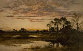 Evening in Worcestershire [alternative title: Landscape and Village]