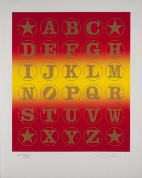 Gold Red Alphabet Wall