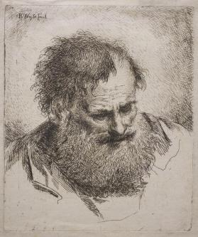 Bearded Man Gazing Downward to Left