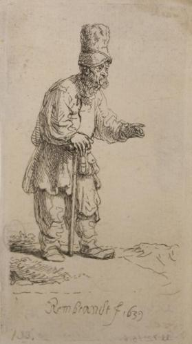 Peasant in a High Cap, Standing Leaning on a Stick