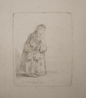 Beggar Woman Leaning on a Stick