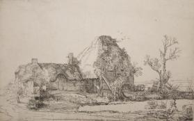Cottage and Farm Buildings with a Man Sketching
