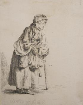 Beggar Woman Leaning on a Stick [copy after Rembrandt]