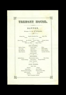 Tremont House Menu