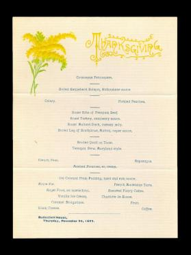 Butterfield House Thanksgiving Menu