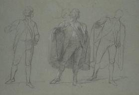 "Three Figure Studies of a Cloaked Figure, Possibly for ""The Siege of Gibraltar"""