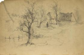 Figure with Three Cottages and Three Trees