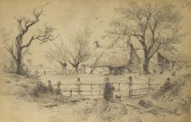 Two Figures and a Dog and Gate
