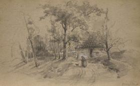 Country Road with Cottages and Cart