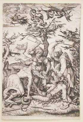 Three Old Women Beating the Devil