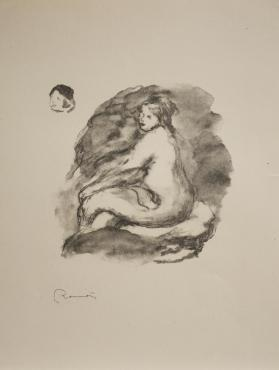 Étude de femme nue assise, variante (Study of a seated nude woman, variant), from Douze lithographies originales de Pierre-Auguste Renoir