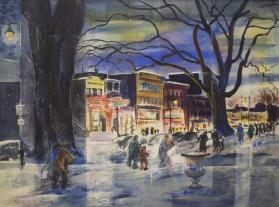 Oneida Square from Fountain Elms (Winter Evening)