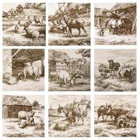 """Animals of the Farm"" Tiles (Set of Nine)"