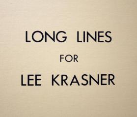 Long Lines for Lee Krasner