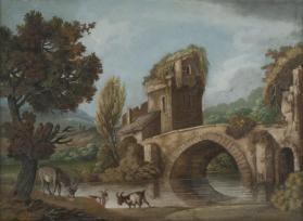 Landscape with Donkey and Goats