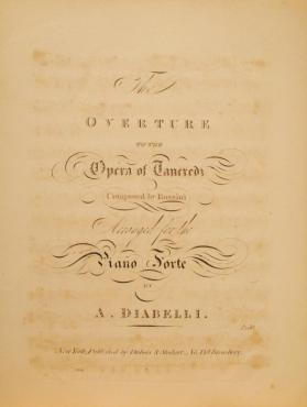 Overture to the Opera of Tancredi' By Rossini, Arranged by A. Diabelli